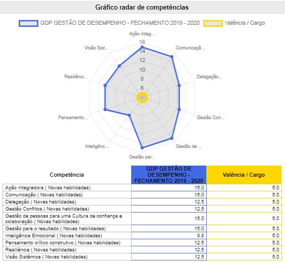Gráfico radar de competências