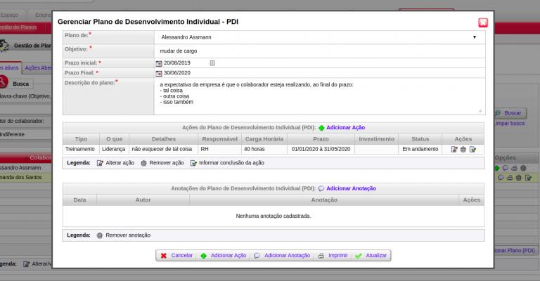 Edição de PDI - plano de desenvolvimento individual