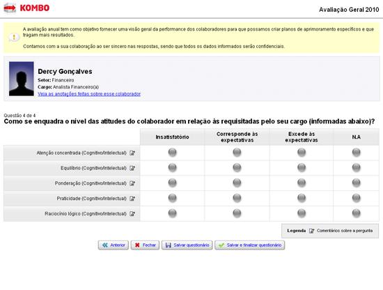 Preenchimento do questionário (avaliação)